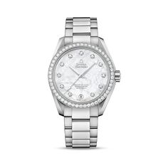 Omega Sea Master Aqua Terra White Mother Of Pearl Dial Automatic... (15,385 CAD) ❤ liked on Polyvore featuring jewelry, watches, white bracelet, stainless steel bracelet, bracelet watches, bezel bracelet and dial watches