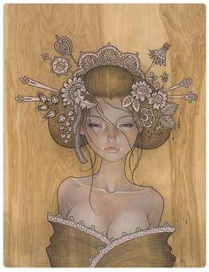 """Yuuwaku"" 誘惑 allure - by Audrey Kawasaki - www.audrey-kawasaki.com | I want to recreate a bunch of her paintings as photographs so bad."