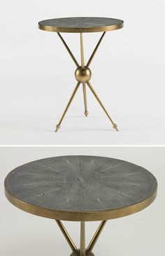 Andre Side Table - a decorators classic with its antique brass tripod base and beautiful grey, faux shagreen top surrounded by a brass rim. 20% off with code TABLES20 Ends Friday November 8th at midnight ET