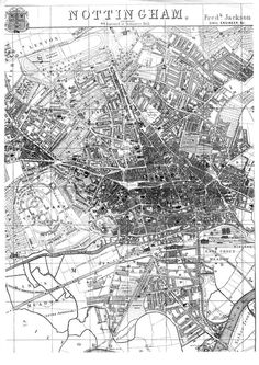 These two maps of century Nottingham are reproduced by kind permission of Nottinghamshire County Archive. The first map (below) is the 1831 Plan of Nottingham by Staveley and Wood. Nottingham Map, Old Maps, City Maps, Train Station, Old Pictures, Ghosts, Walks, 19th Century, City Photo