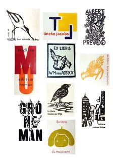 Verschillende Ex libris | In de loop van de jaren maten varierend van 3 x 4 tot 4 x 7 cm hout- en linosneden Veelal in opdracht