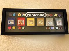 My Pokémon Gameboy Game Shadow Box with Kanto & Johto Games & Badges!
