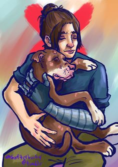 """asofterbucky: fightin dogs takes one to know one   Bucky walking around the tower with a scarred-up former bait dog padding at his heels. Visitors are all, """"Isn't your dog dangerous?"""" And Bucky gives them a dirty look and says, """"If he licks you to death, it's your own fault."""""""