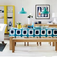 Dining room with blue patterned blind | Easy dining room transformations | Decorating | housetohome.co.uk