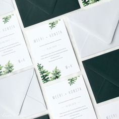 Simple minimalist wedding stationery with watercolor leaf greenery painting and modern font. Wedding Beauty, Luxury Wedding, Boho Wedding, Wedding Ideas, Wedding Invitation Design, Wedding Stationery, Nordic Wedding, Watercolor Leaves, Modern Fonts