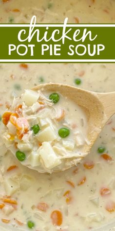 Chicken Pot Pie Soup is so creamy and tastes just like a chicken pot pie! Loaded with hearty vegetables, chicken, and a perfectly seasoned creamy broth base. This homemade soup recipe is perfect for a cold day. Best Soup Recipes, Vegetable Soup Recipes, Healthy Soup Recipes, Chili Recipes, Vegan Recipes Easy, Lunch Recipes, Family Recipes, Turkey Recipes, Salad Recipes