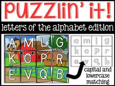 ALPHABET at the beginning of kindergarten!  Click to view this fun literacy center for the beginning of kindergarten!  Kids love puzzles so why not learn?