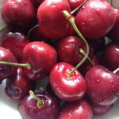 Amazing health benefits of cherries include:*High in iron, a wonderful blood builder, especially for those with anemia. *A natural laxative effect that starts peristaltic action.*It's high beta-carotene content protects your skin from the sun. *A natural food source of melatonin, the chemical that controls the body's internal clock to regulate sleep. Cherries contain higher amounts than bananas.*Cherries are an excellent source of potassium, which helps lower blood pressure.
