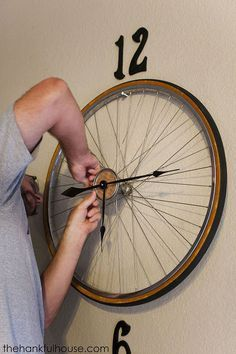 vintage bicycle wheel clock, home decor, repurposing upcycling, wall decor - Bicycle Wheel repurpose - Bicycle Wheel Decor, Bicycle Clock, Bicycle Rims, Bicycle Art, Bike Wheel, Bicycle Crafts, Bicycle Safety, Bicycle Design, Upcycled Home Decor