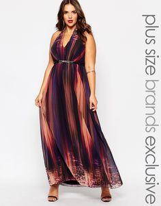 Little Mistress Plus Printed Plunge Maxi Dress