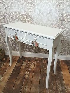 NEW White Shabby Chic Dressing Table Console Hall Table Antique Style 607 Vintage Country, Country Style, French Vintage, Shabby Chic Dressing Table, Crystal Knobs, Autumn Home, Console Table, Entryway Tables, I Shop