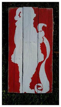 Santa Claus Pallet Sign/ Santa Checking his by PrimitivePaintings