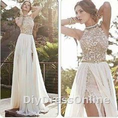 A-line High Neck Lace Bodice Ivory Chiffon Prom Dresses Beach Wedding Dresses APD1449