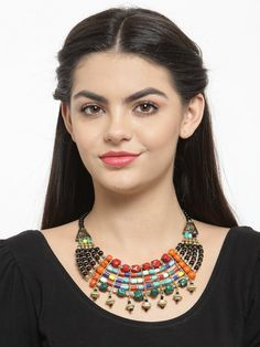 This Charming Neckpiece Is Neat And Simple For Those Who Wish For Fashion Jewelry Collection. Match This Jewelry With Any Of Your Outfit And Flaunt Your Style. Fashion Jewelry Stores, Tribal Necklace, Jaipur, Animal Kingdom, Party Wear, Jewelry Collection, Your Style, Jewellery, Pretty
