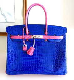 d64afc61674 Amazing colors! HERMES BIRKIN 35 porosus Crocodile Electric Bleu w  Fuschia 2  tone bag