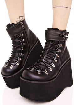 390b9a07acf3d Demonia Kera Lace-Up Platform Boots Black Wedge Boots