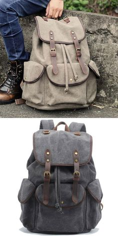 Retro Leather Strap Rucksack Thick Canvas Large Travel College Backpack 230147e50883c