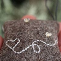 Lavender sachet with embroidery