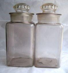 $139.95 Vintage Set 2x Dakota Square Candy Jars with Ground Glass lids Apothecary Rx Pharmacy turning purple purpling sun not irradiated