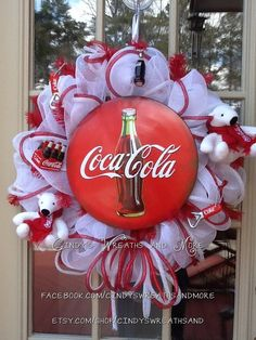 Coca Cola Wreath, Custom Wreath, Deco Mesh, Mesh Wreath, Poly Mesh, Door Decor, Collectible, Game Room Wreath