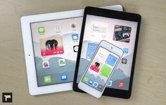 Concepto de iOS 8 con iconos ampliables que muestran información útil