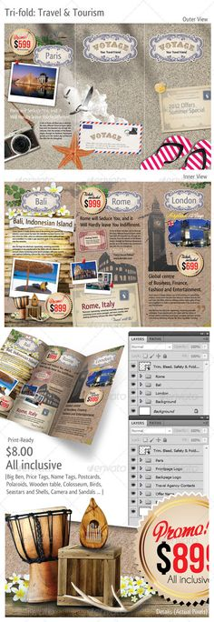 Caribbean Holiday Travel Offer TriFold Brochure  Fonts Photo