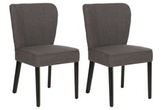 Charcoal Leopold Side Chairs, Pair