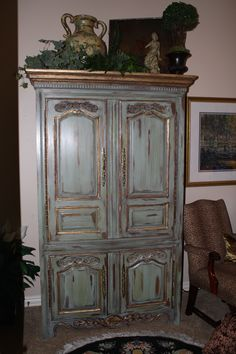 This armoire was purchased in the early 90's and was pickled!! Now it has a vintage french finish.