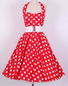 50s Bigwhitedot Red All Sizes Pinup Vintage Swing Dress Rockabilly Polka Dot