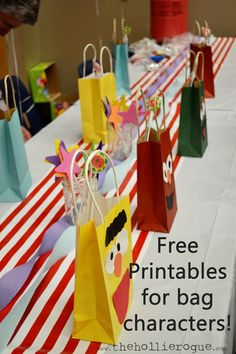 free Sesame Street printables for character favor bags