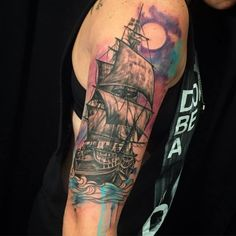 Most amazing watercolor tattoo of a ship.