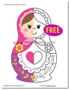 Babushka Doll Coloring Page | Russian Matryoshka Babushka Nesting Doll Printables