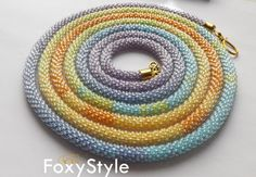 Crochet necklace pastel necklace beaded by FoxyStyleJewelry