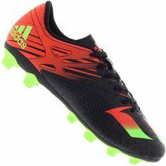 Chuteira Adidas Messi 15.4 FXG Campo Masculina Preta   Verde   Vermelha 2f5f43b7ed098