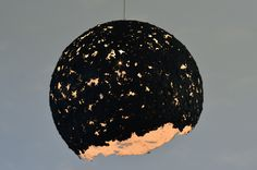 """Handmade lampshade (papier mache technique) from used newspaper """"Transilvania Reporter"""", painted with acrylic black paint, 37 cm, max 75 W"""