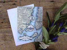 Custom Wedding Map  Vintage Style  Hand drawn & by nleeman on Etsy,