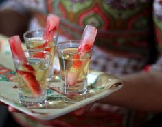 cachaça with strawberry ice sticks