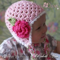 "Ravelry: Baby Earflap Beanie ""Sugar and Spice Earflap Beanie"" pattern by Elizabeth Alan IDEA Crochet Flower Hat, Crochet Baby Hat Patterns, Baby Girl Crochet, Crochet Baby Hats, Love Crochet, Crochet For Kids, Diy Crochet, Crochet Crafts, Baby Knitting"