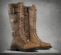 Authentic styling marks this lace-up boot.   Harley-Davidson Belhaven Performance Boots - Brown