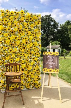 Sunshine Sun Flowers and Roses Wall Flower for Rental Wide x High Sunflower Party Themes, Sunflower Birthday Parties, Sunflower Wedding Decorations, Grad Party Decorations, Graduation Centerpiece, Centerpiece Wedding, Candle Centerpieces, Wedding Flowers, Flower Wall Rental