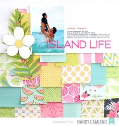 #papercrafting #scrapbooking #layouts - Dear Lizzy Happy Place layout by Nancy Damiano