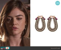 Aria's earrings on Pretty Little Liars. Outfit Details: https://wornontv.net/56276/ #PLL