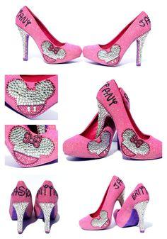 Mickey and Minnie Heels with Swarovski Crystals - 4 inch heels - Pink by WickedAddiction