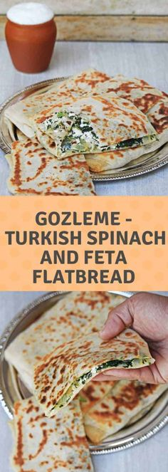 Gozleme (Turkish Spinach and Feta Flatbread) Vegetarian Recipes, Cooking Recipes, Recipes With Feta, Pasta Recipes, Crockpot Recipes, Soup Recipes, Chicken Recipes, Recipies, Healthy Recipes