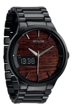 Nixon 'The Spencer' Bracelet Watch. I Love The Wood Grain Background!