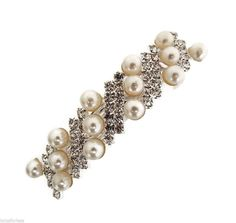 Beautiful Ivory Pearl and Crystal Barrette Hair Clip Bridal Bridesmaid Prom