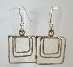 "#Vintage sterling silver #earrings 3"" Square geometric pierced large dangle RARE #Vintage #DropDangle"