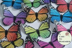 Rainbow edible butterflies, 12 wafer paper monarch butterfly cupcake toppers or wedding cake cascade. Butterflies for wedding cake toppers Cake Decorating Supplies, Cake Decorating Tutorials, Cookie Decorating, Decorating Ideas, Wafer Paper Flowers, Wafer Paper Cake, Paper Butterflies, Summer Cakes, Fall Cakes