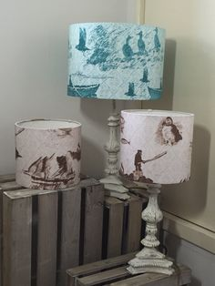 Commissioned lampshades 'Aff At Da Eela' 30cm shade in turquoise and 'Tammie Norie Fishing' 20cm shade in brown.  #home #textiles #shetland #print #fairisle #fishing #lampshades #decor #countrystyle