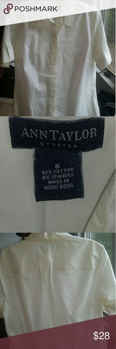 Ann Taylor Ivory Camp Shirt. Sz 6 Demure style Excellent condition ivory short sleeve shirt from Ann Taylor. Sz 6, stretch material. Really darling shirt! Has a soft almost silk feeling to  the fabric. Lovely demure shirt. Ann Taylor Tops Button Down Shirts